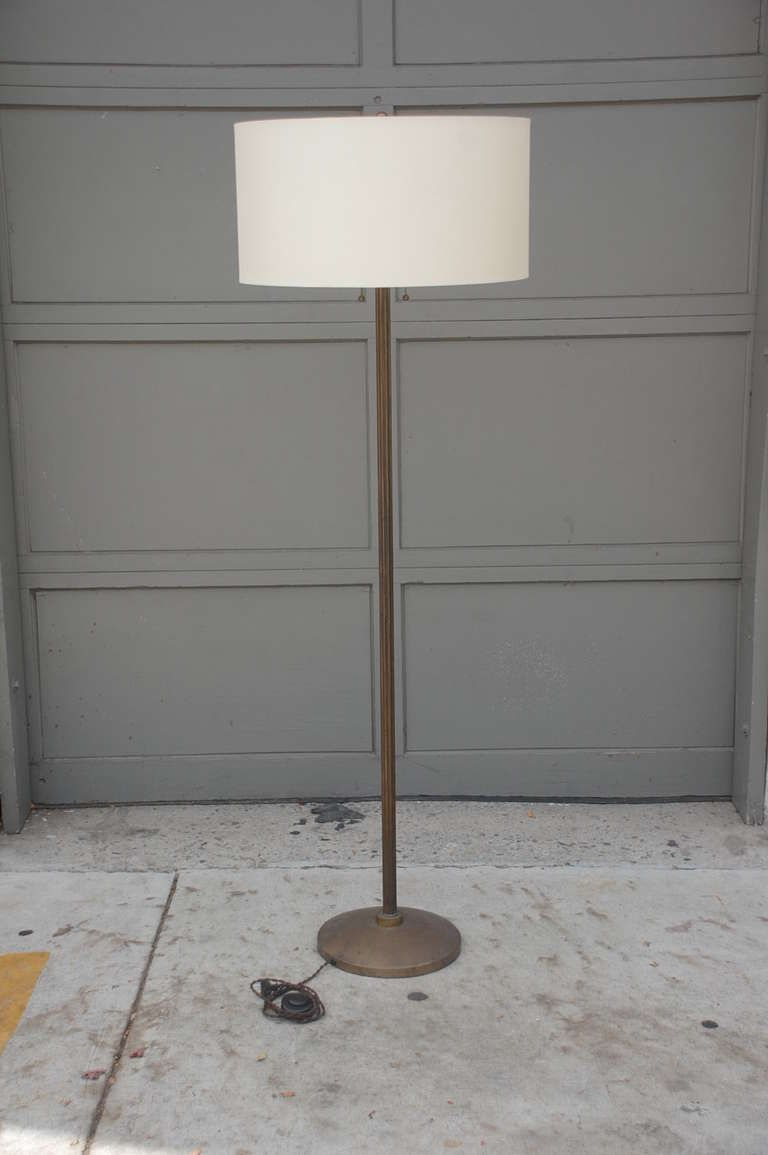 Elegant French Ribbed Brass Floor Lamp image 5