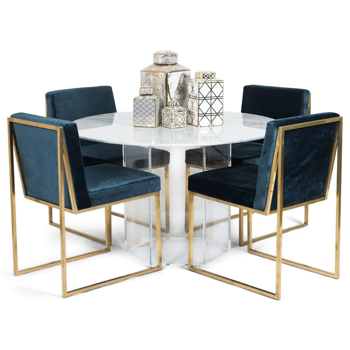 Iceland Dining Table With Hexagon Lucite Base Luxury Dining Room