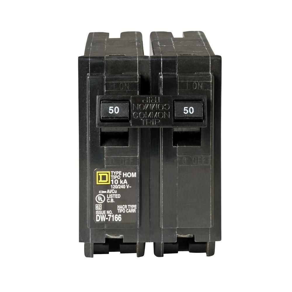 Square D Homeline 50 Amp 2-Pole Circuit Breaker | Squares and 50th
