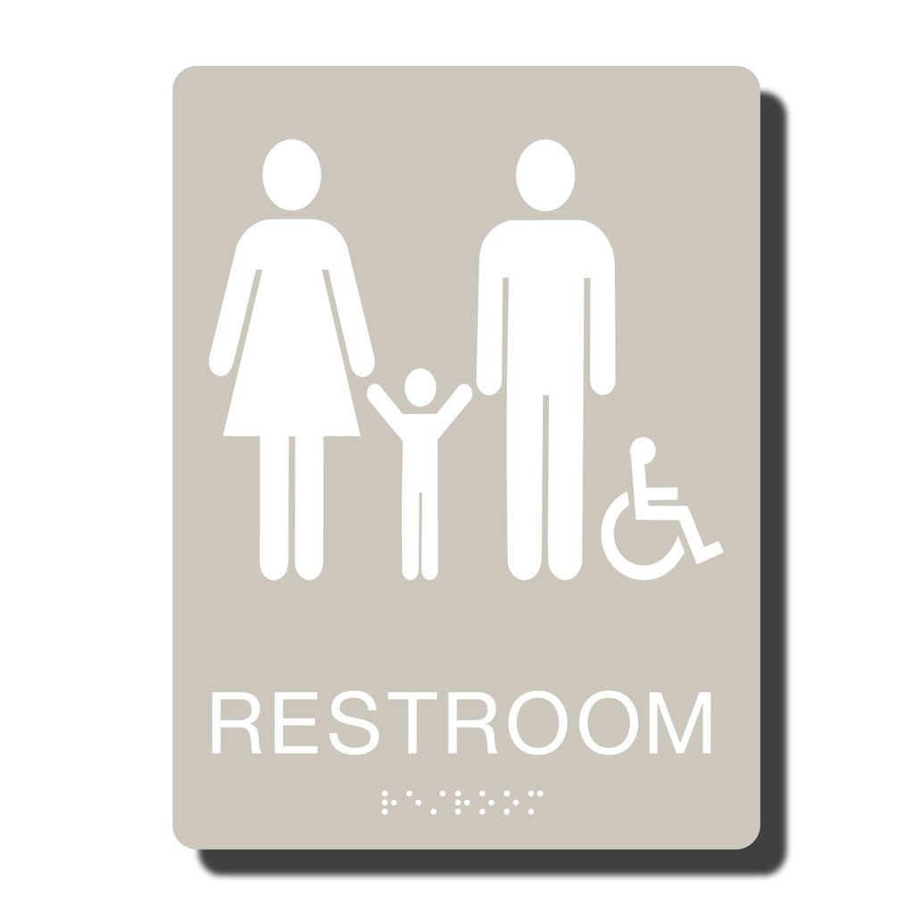 Ada Family Handicap Restroom Sign With Braille 23 Colors 6 X