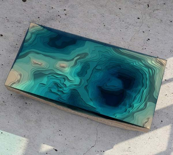 Exceptional Layered Glass And Wood Table Looks Like Ocean Depths