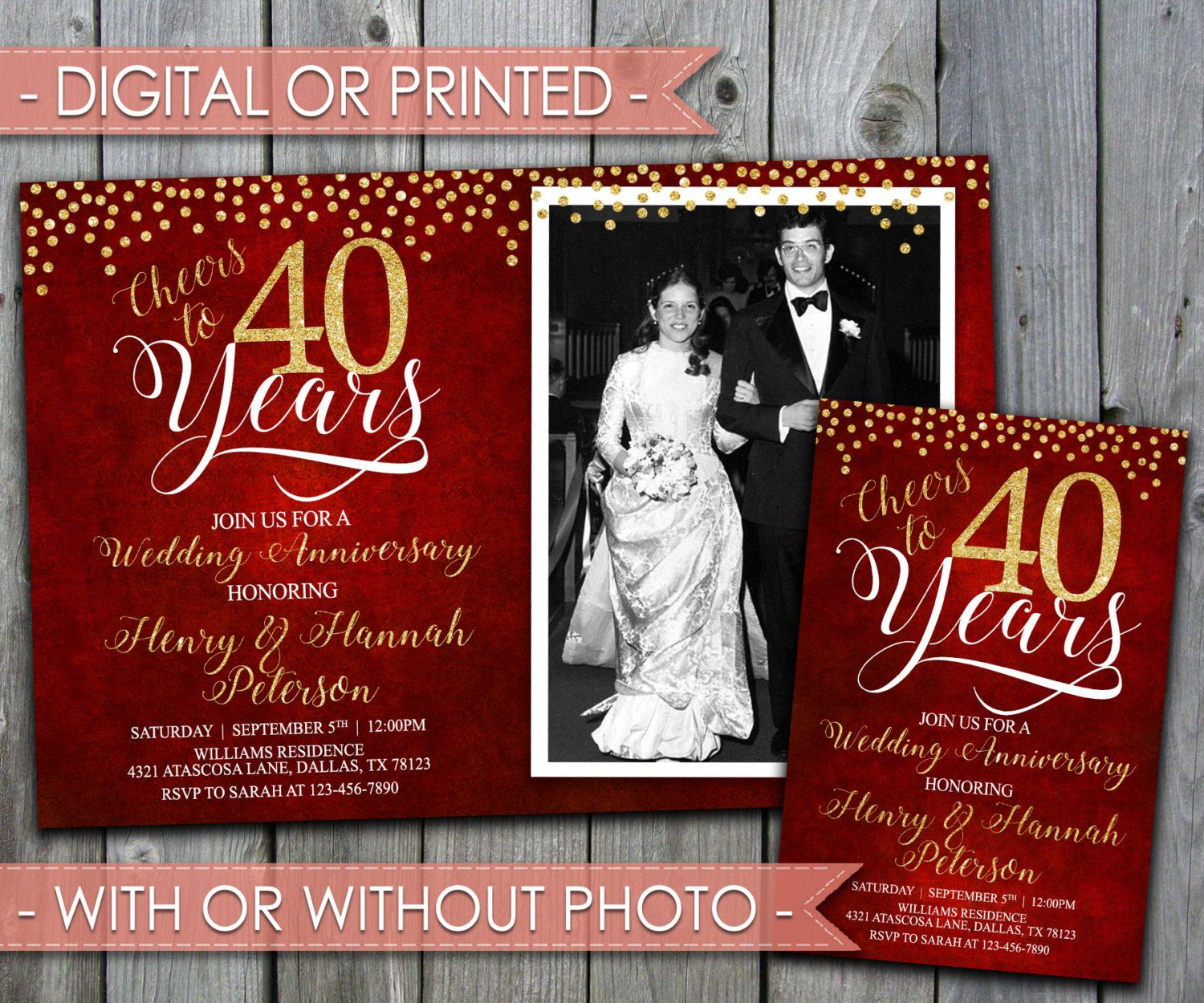 40th Wedding Anniversary Invitation, Wedding Anniversary Invite ...