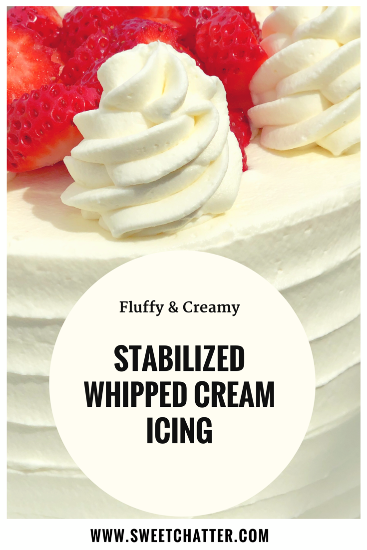 Stabilized Whipped Cream Icing: Perfect for Spring! • Sweet Chatter #creamfrosting