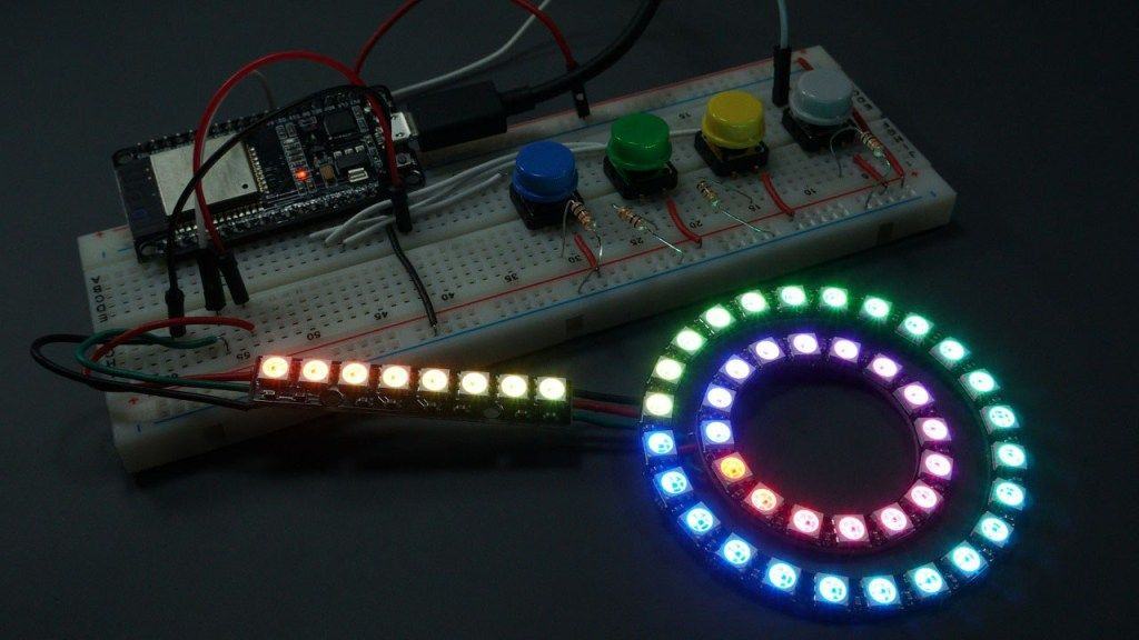 MicroPython: WS2812B Addressable RGB LEDs with ESP32 and