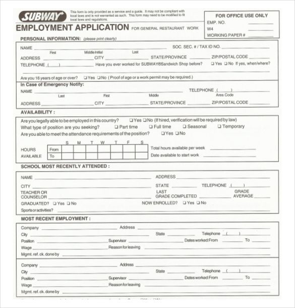 subway restaurant employement application pdf free download