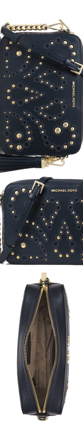 18eb30d8ec09 MICHAEL MICHAEL KORS Ginny Medium Embellished Leather Crossbody ...