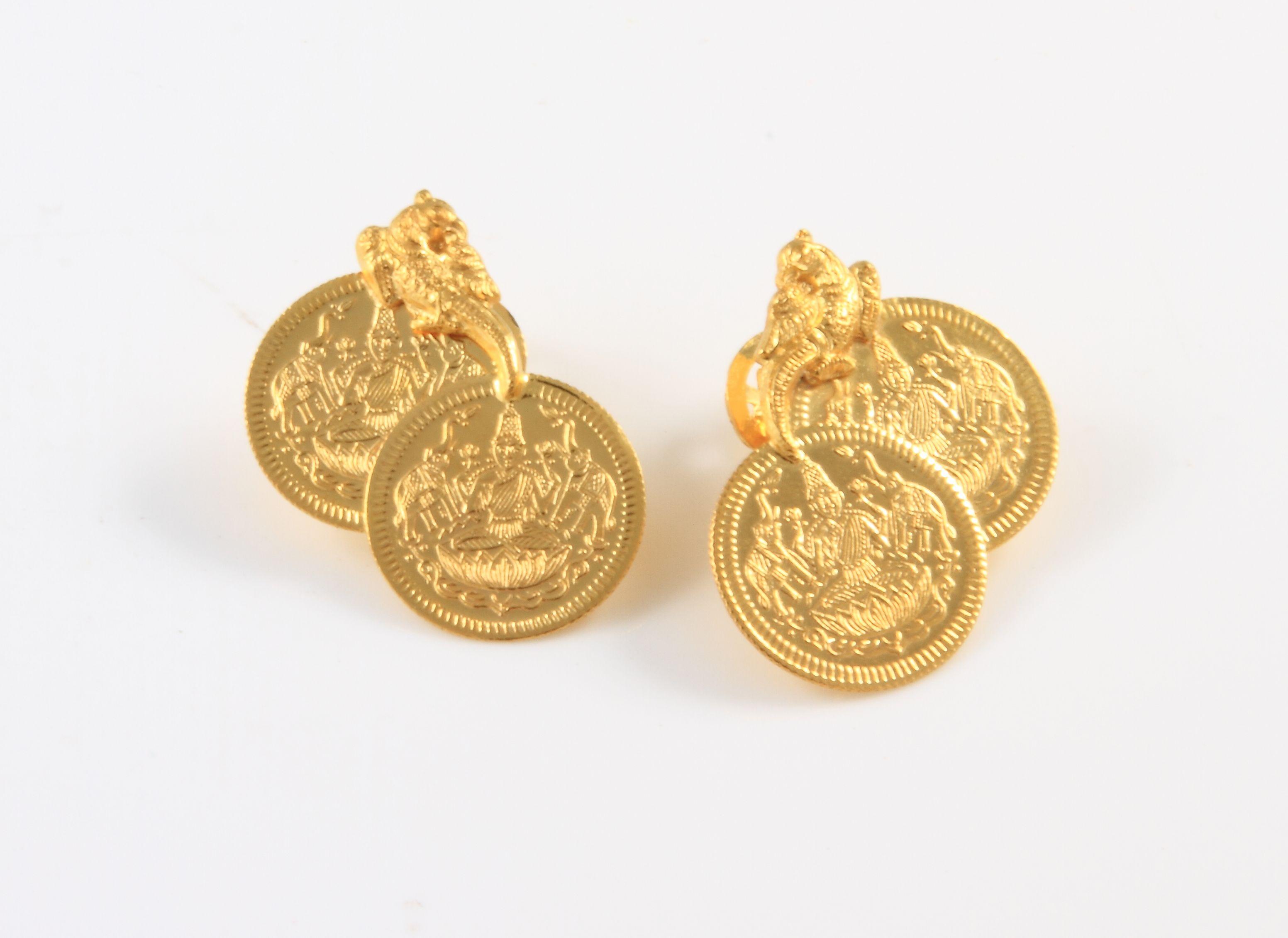gold lakshmi coinsquotlakshmi quot goddess of wealth studs in