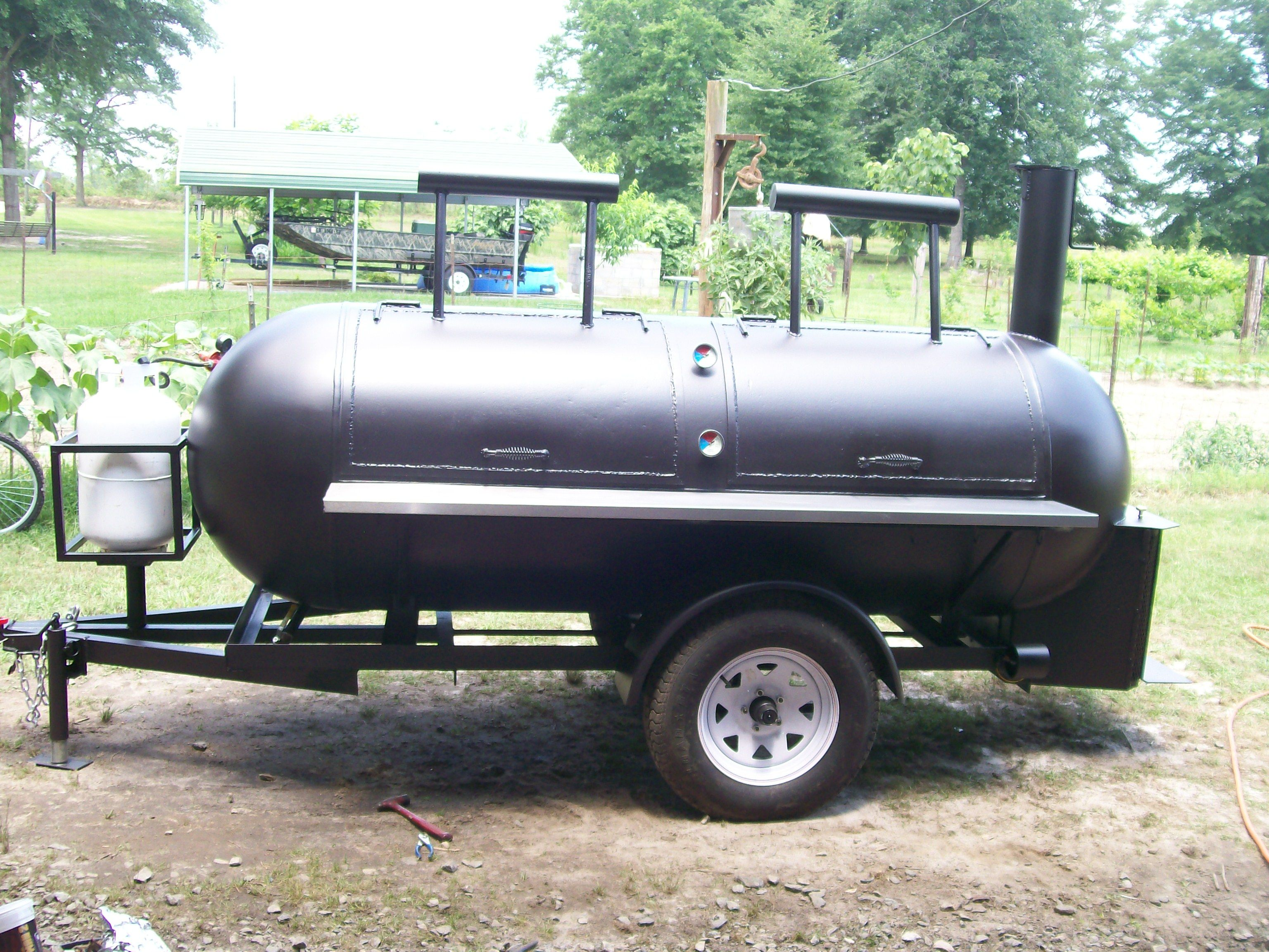 Hubby 39 s grill smoker he made from 500 gallon propane for Fish tank trailer