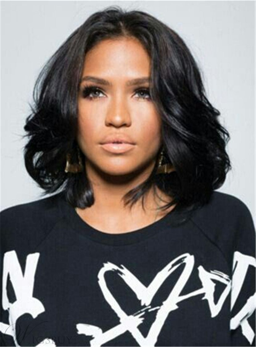 Medium Bob Hairstyle Wavy Synthetic HairLace Front Cap African ...