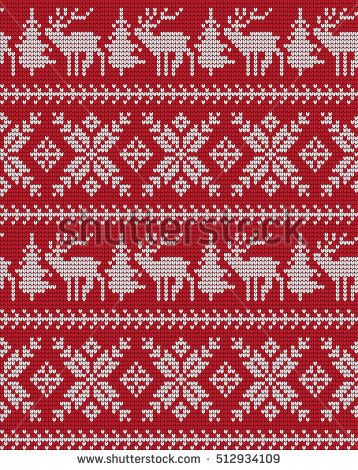 Knitted Christmas and New Year pattern | Charts for Beading and ...