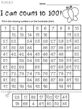 I can count to 100! Cut and glue for Kindergarten - FREEBIE ...