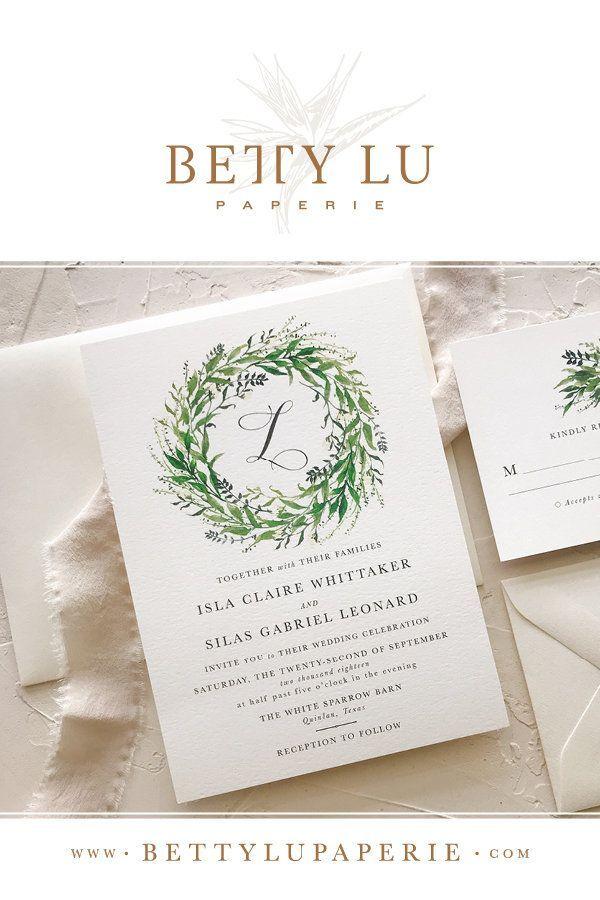 Greenery Wedding Invitation | Simple Wedding Invitation Set | Rustic ...