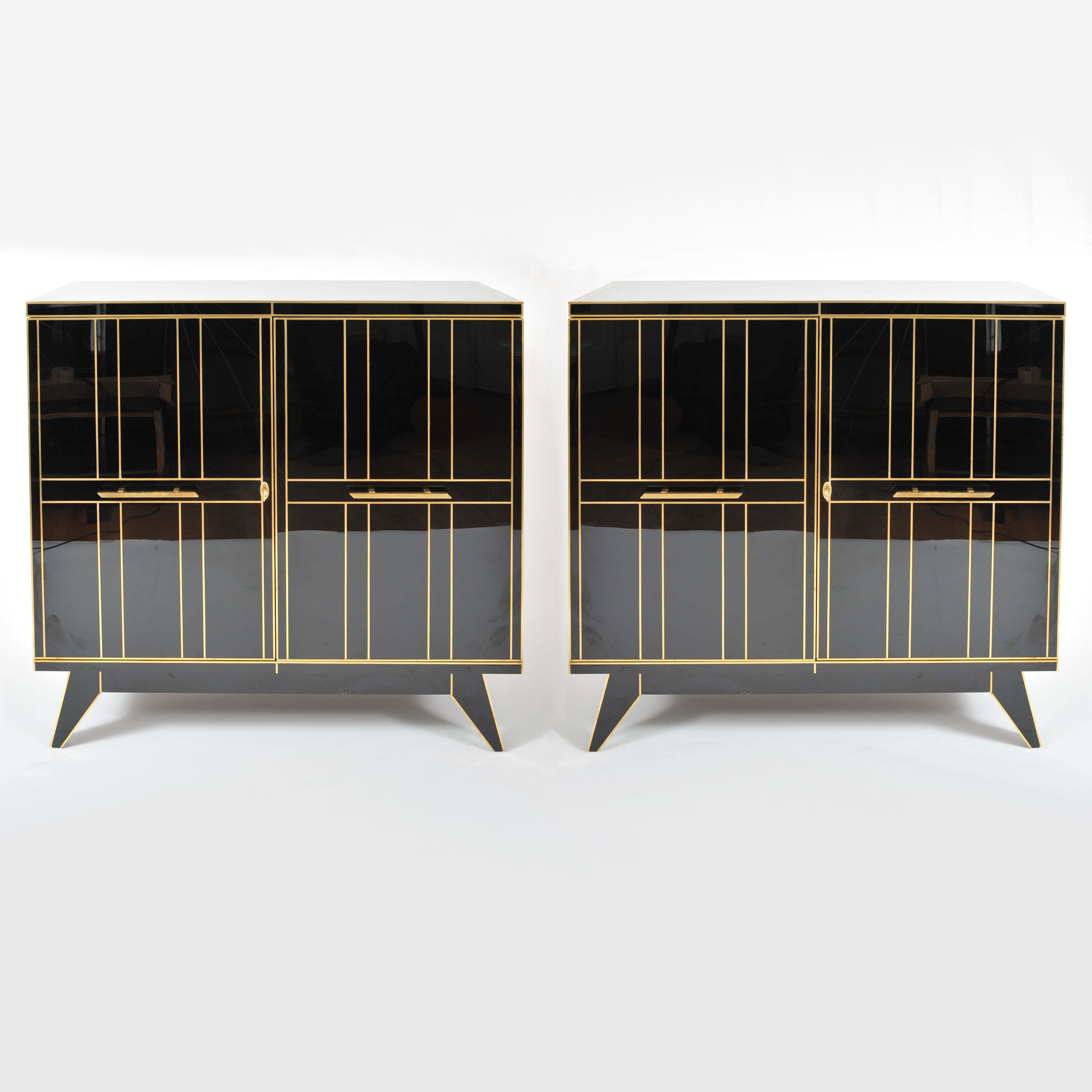 Pair of 1970\'s Italian Black Glass Cabinets - Furniture – Valerie ...