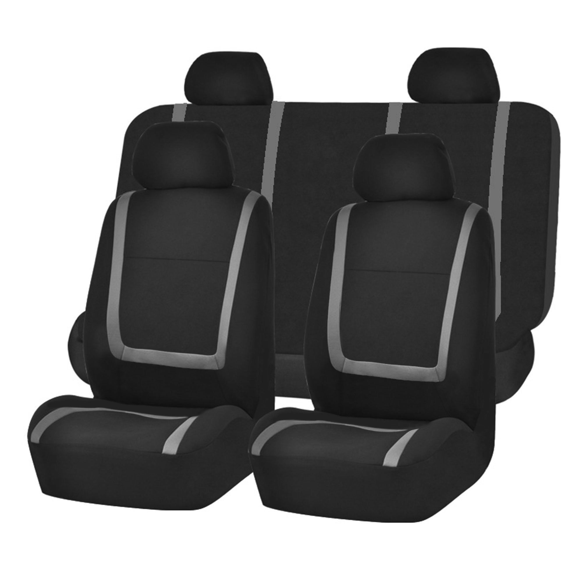FH Group Grey and Black Unique Flat Cloth Auto Seat Covers (Full Set
