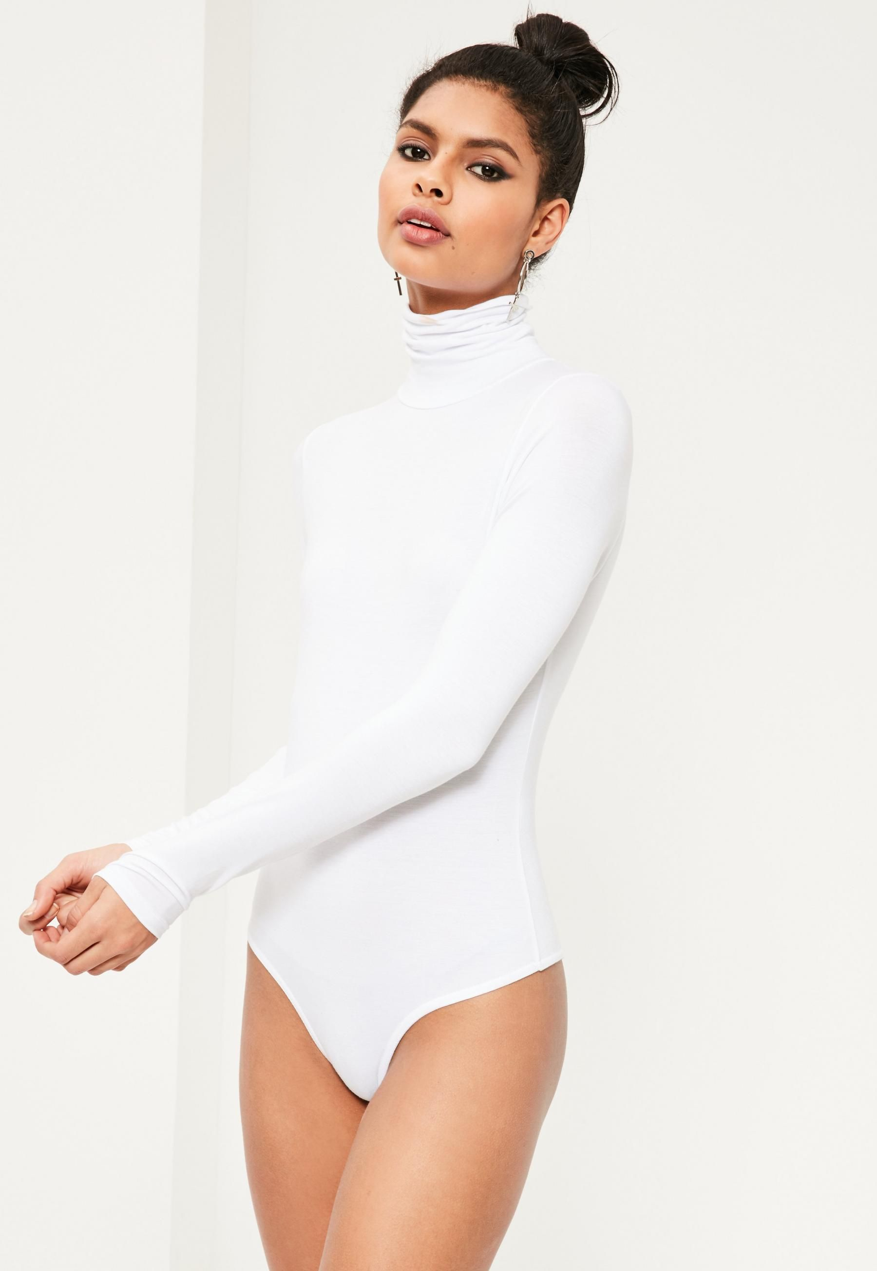 399a81a73b Missguided White Funnel Neck Long Sleeve Bodysuit in 2019   Cute ...