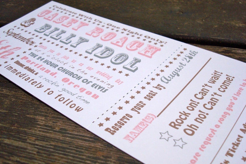 concert ticket wedding invitation deposit to get started wedding