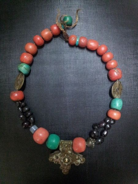 Old Amazonite And Coral Judaica Necklace A Very Old Necklace From