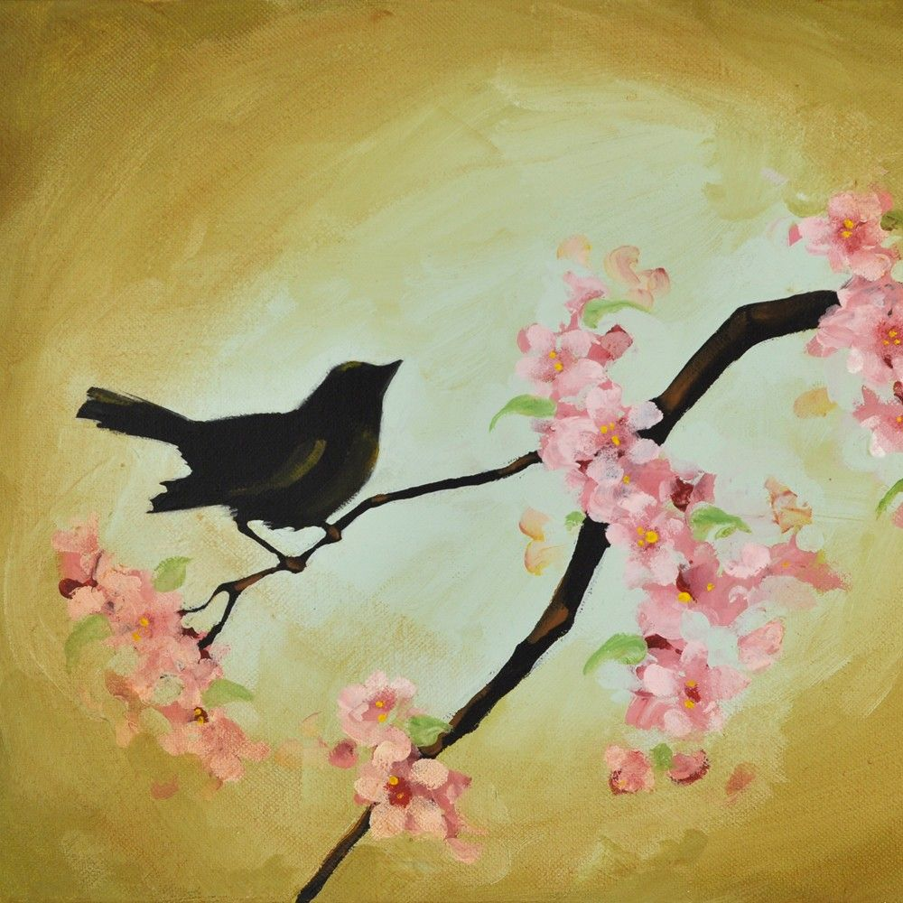 Bird in Cherry Tree Blossoms Painting on Canvas - Vintage Shabby ...