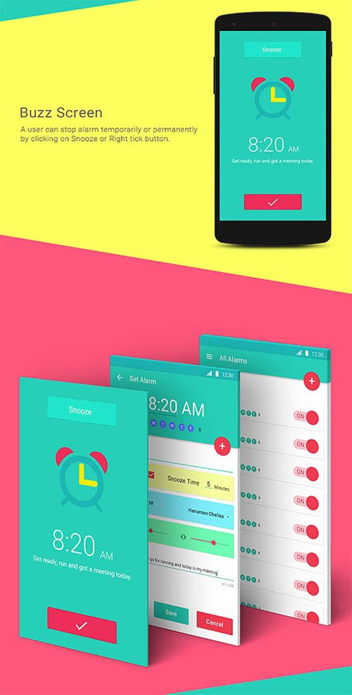 Lollipop Material Design Android 5.0 alarm clock app By ...