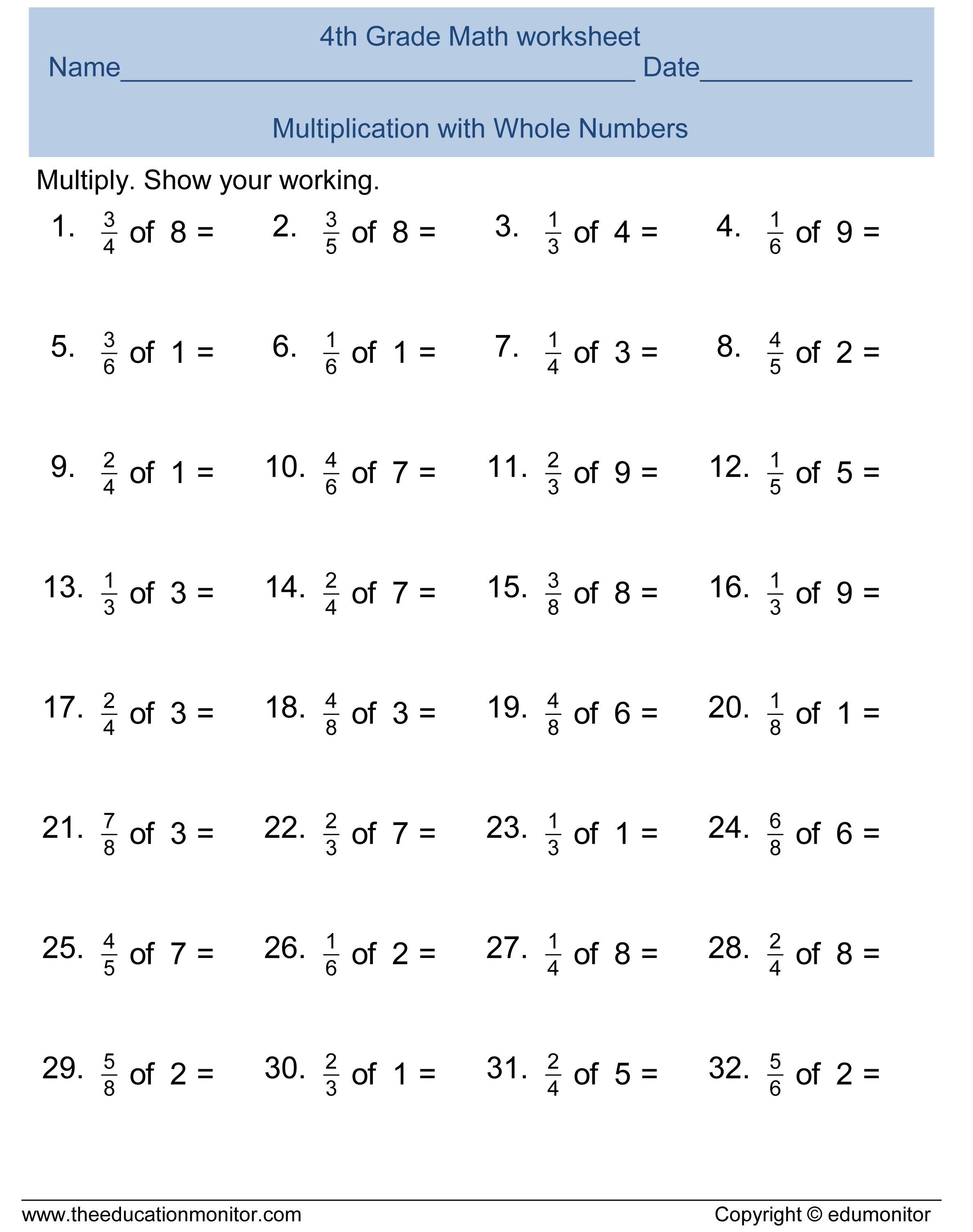 Multiplication 4th Grade