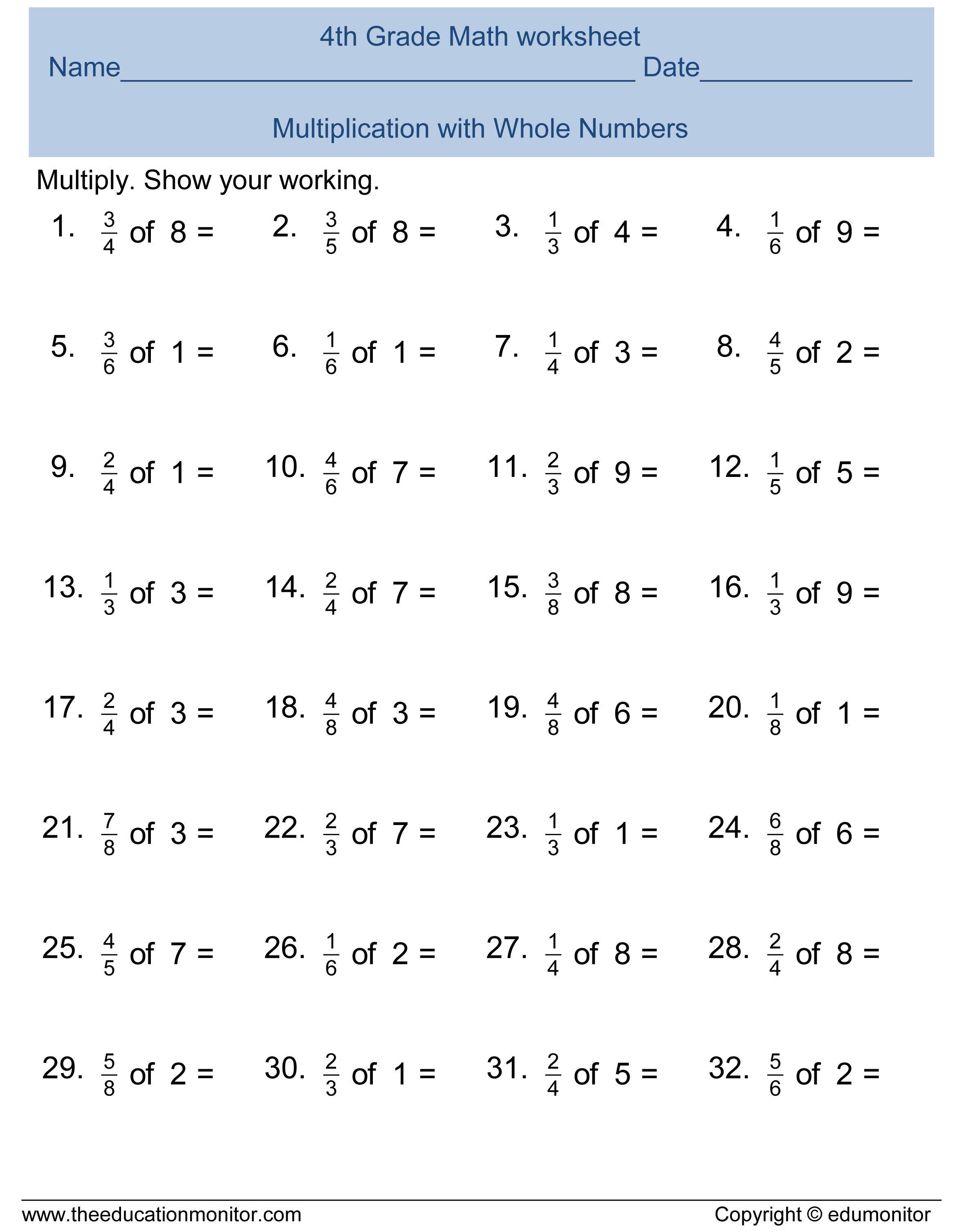 Multiplication 4th Grade