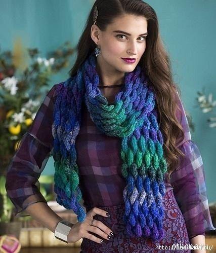 Красивый объемный «плетеный» шарф   вязание   Pinterest