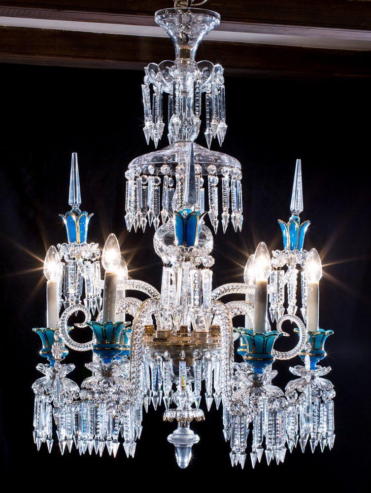 L mpara baccarat de cristal y opalina azul siglo xix - Lamparas cristal antiguas ...