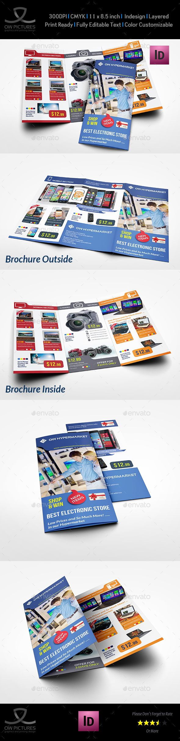 Electronics Products Catalog TriFold Brochure Template  Tri Fold