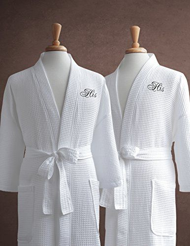 95c034944b Luxor Linens Egyptian Cotton Waffle Weave Robe with Men s Couple s  Embroidery – Perfect Gay…