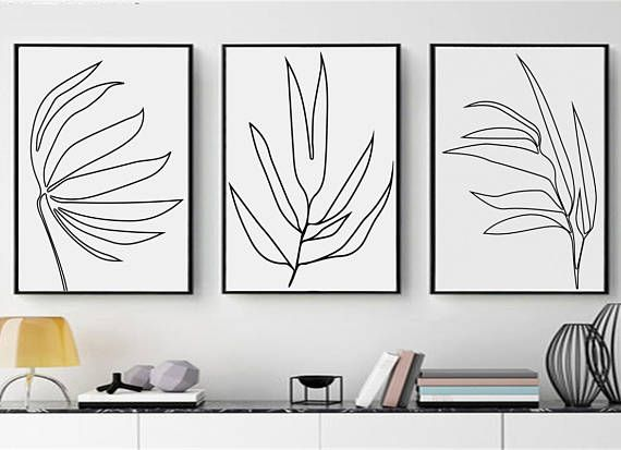 Botanical Art Set Of 3 Prints Leaf Line Drawing Printable Wall Art Leaves Art Tropical Leaf Print Illustration Simple Art Minimalist Poster