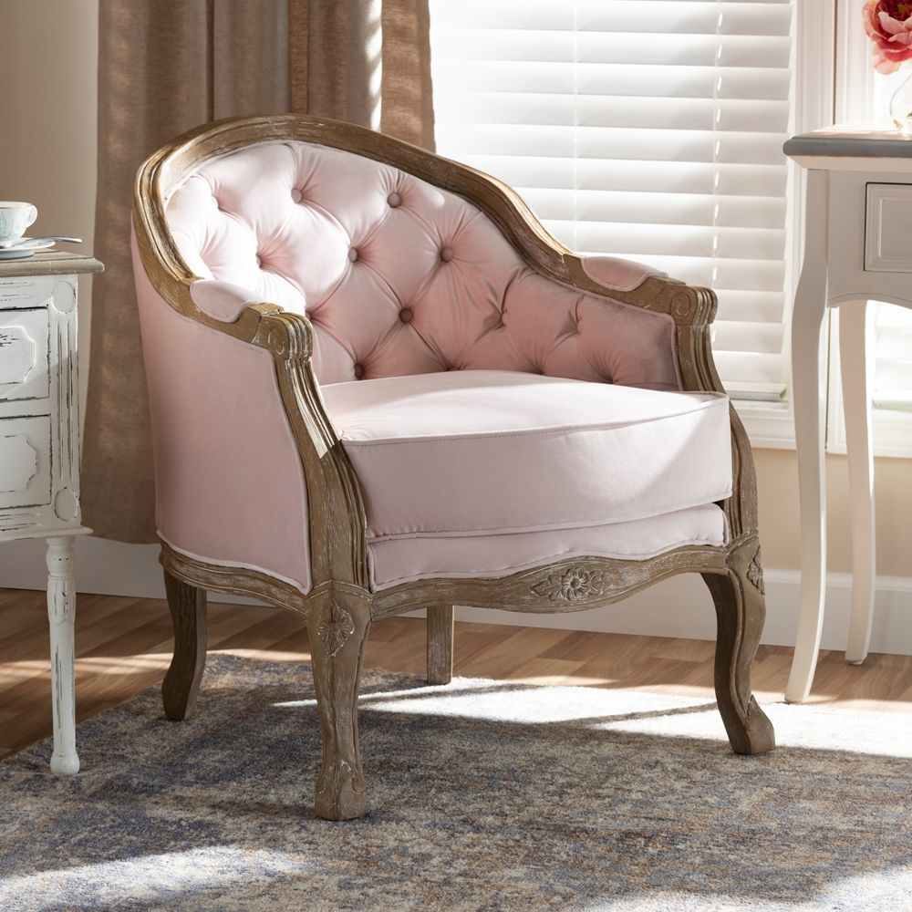 This adorable French farmhouse side chair is upholstered
