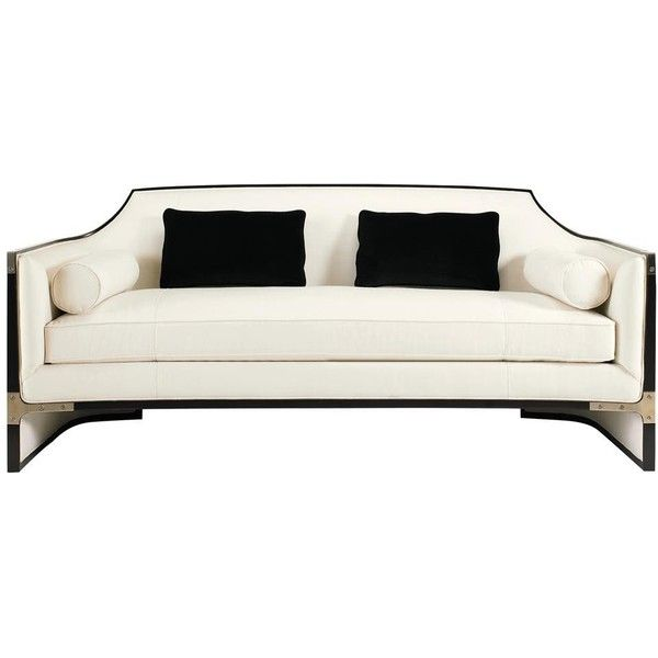 Octavio Modern Black Tuxedo Trim Ivory Sofa 10 657 965 Cop Liked On Polyvore Featuring Home Furniture Sof Black Sofa Black Modern Sofa Modern Black Couch