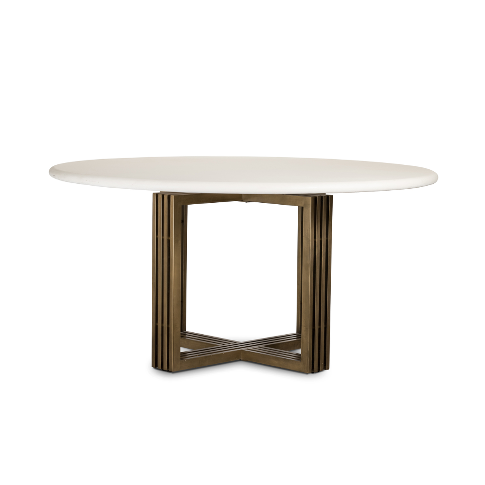Mia Brass Leg Concrete Top Round Dining Table 60 Dining Table
