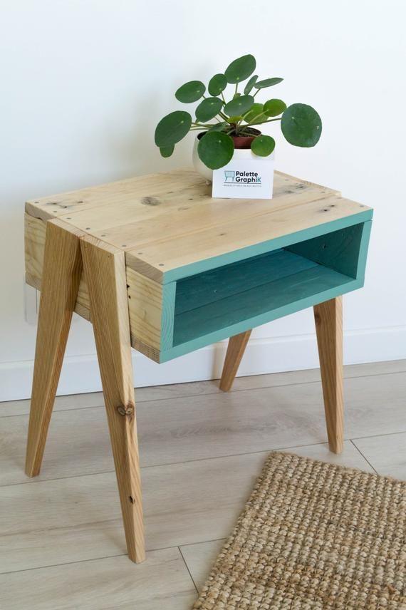Table de nuit en bois, table de nuit en bois, table de nuit en bois recyclé, table de nuit style scandinave, table de nuit style vintage