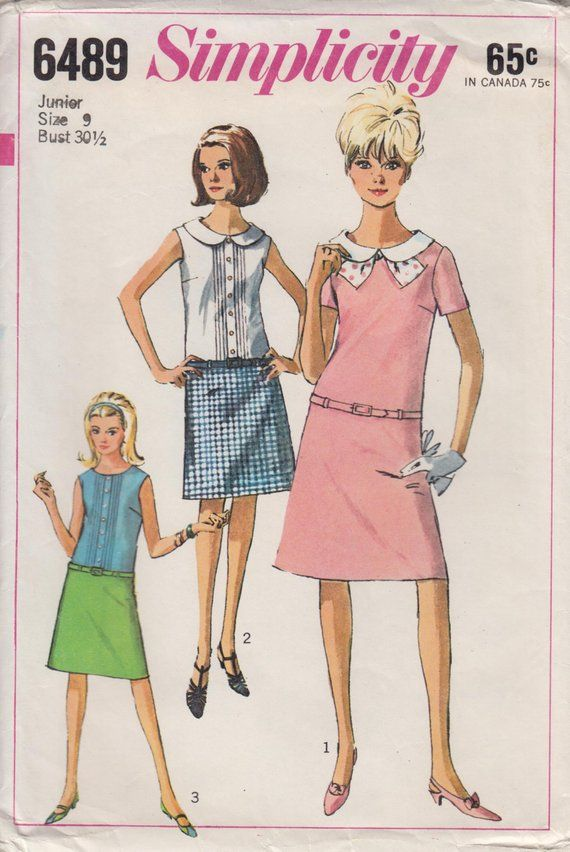 Vintage Sewing Pattern 60s Mod Dropped Waist Lolita Dress with Peter ...
