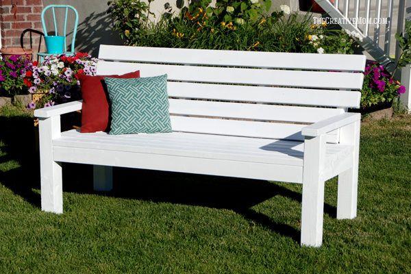 How To Build A Farmhouse Bench For Under 20 In Supplies The Creative Mom In 2020 Diy Bench Outdoor Garden Bench Plans Garden Bench Diy