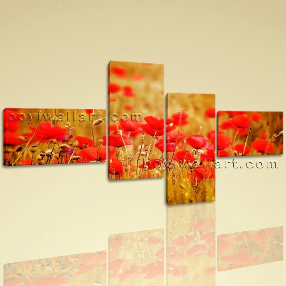 Extra Large Wheat Field With Poppies Floral Contemporary Canvas Art ...