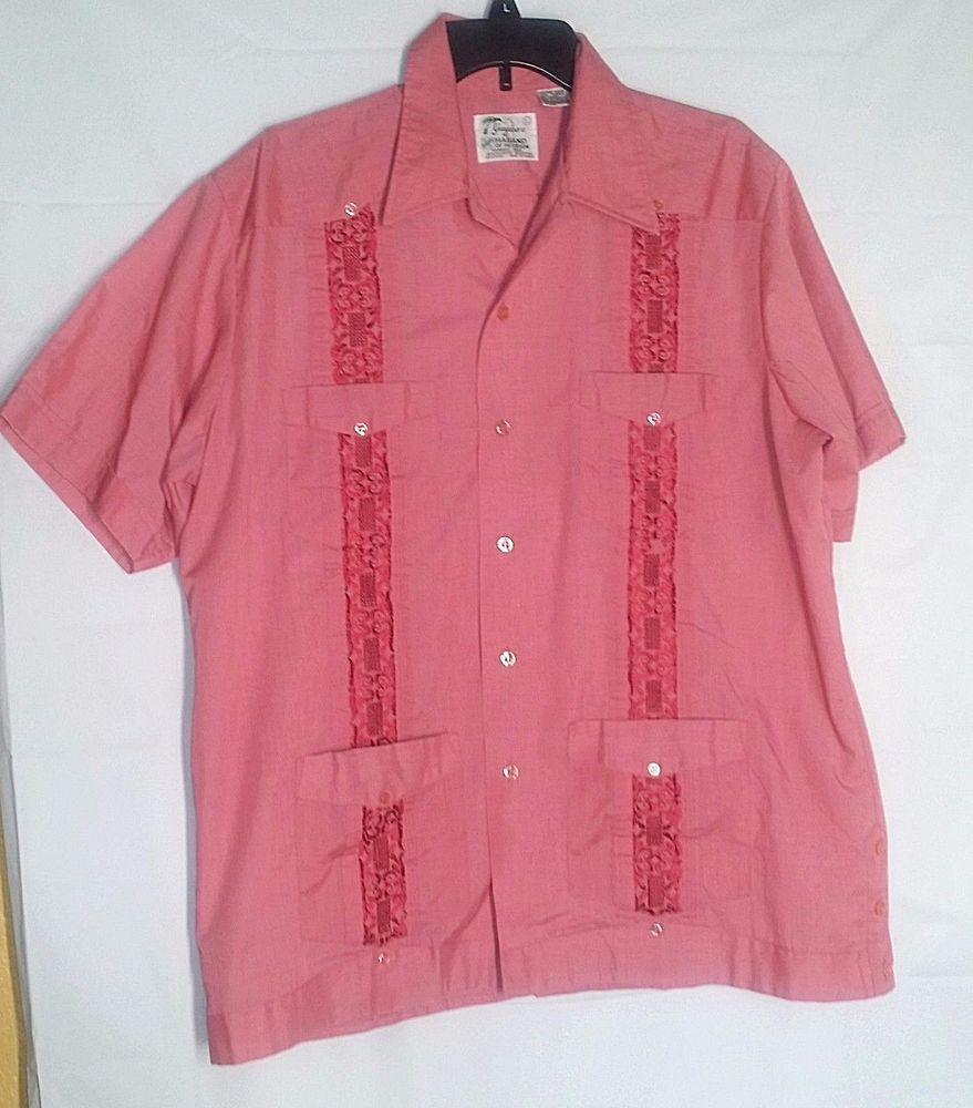 Guayabera Camp Shirt L Embroidered Mexican Wedding Cuban Cigar Pink ...