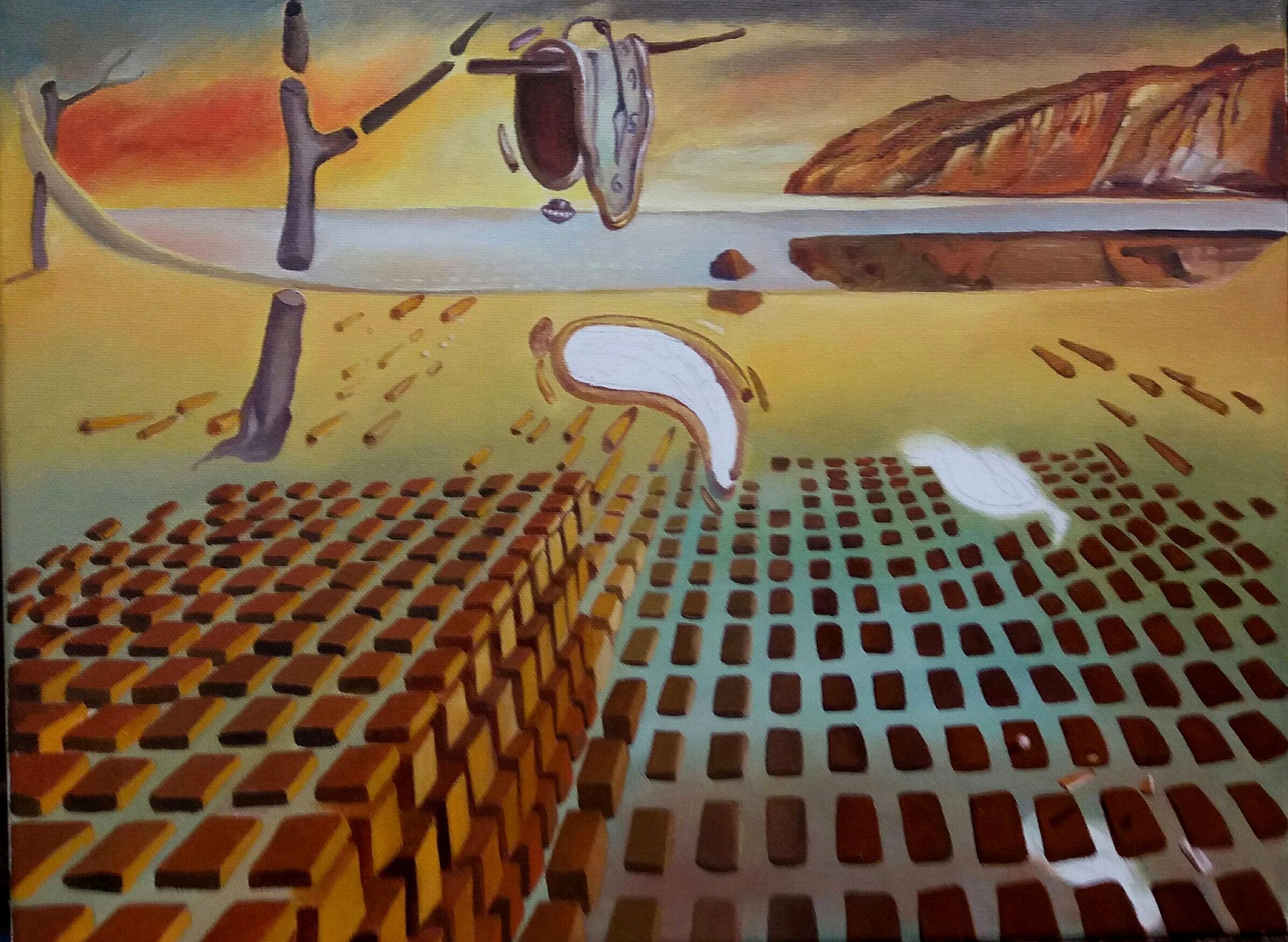 """Trabalho inspirado em a """"Desintegração da Persistência da Memória"""" de Dalí - (11ª etapa) (15/2/2017)"""