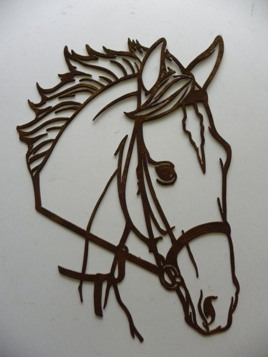 Custom Made Horse Head Metal Wall Art Country Rustic Home Decor