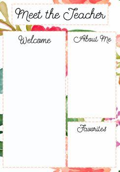 Meet the Teacher Template Floral Pattern #meettheteacherideas