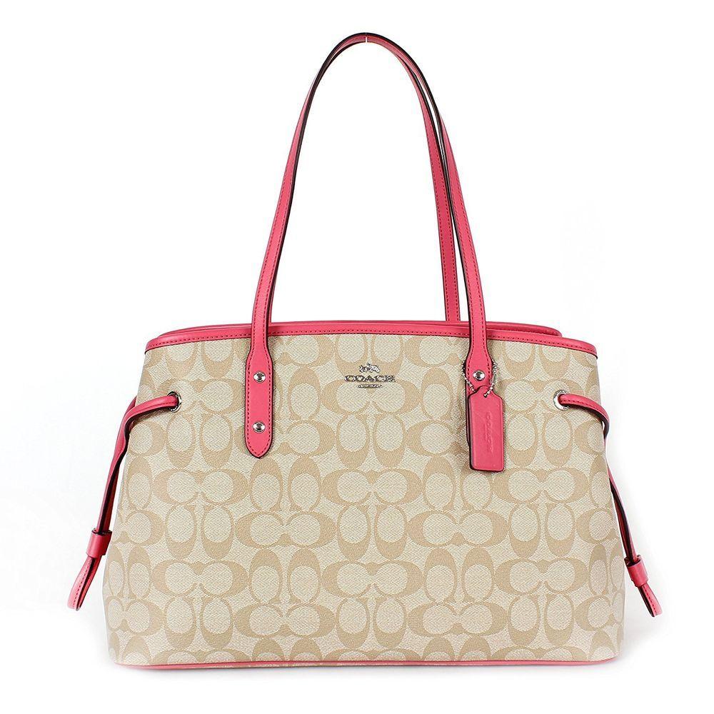 7efcab94fa0c Coach Large Signature Drawstring Carryall Shoulder Bag Khaki Strawberry Pink   Coach  ShoulderBag