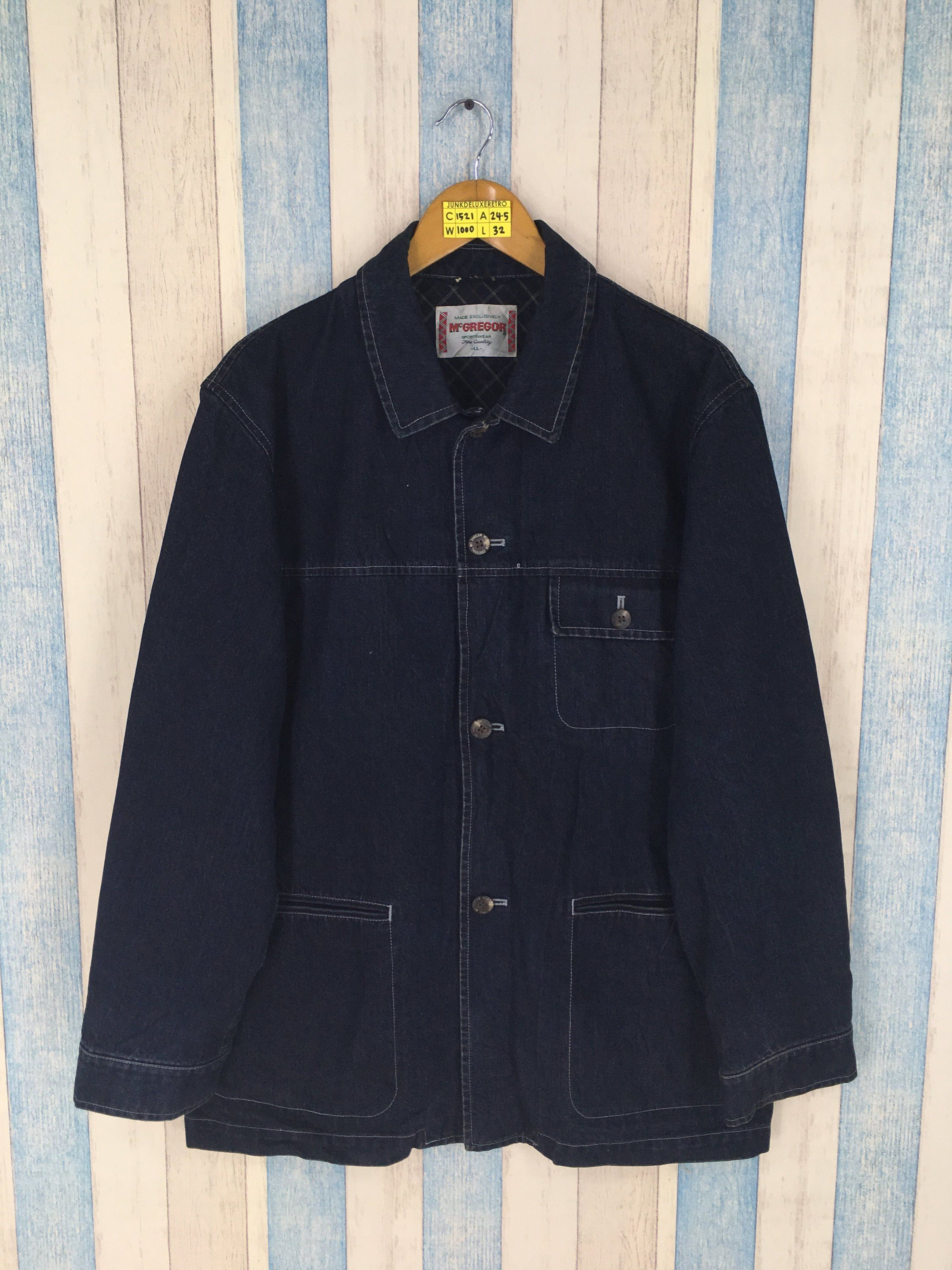 f6cd98fb2fd MCGREGOR Denim Workers Jeans Jacket Black Large Vintage 90 s Workwear Barn  Field Denim Union Made Style