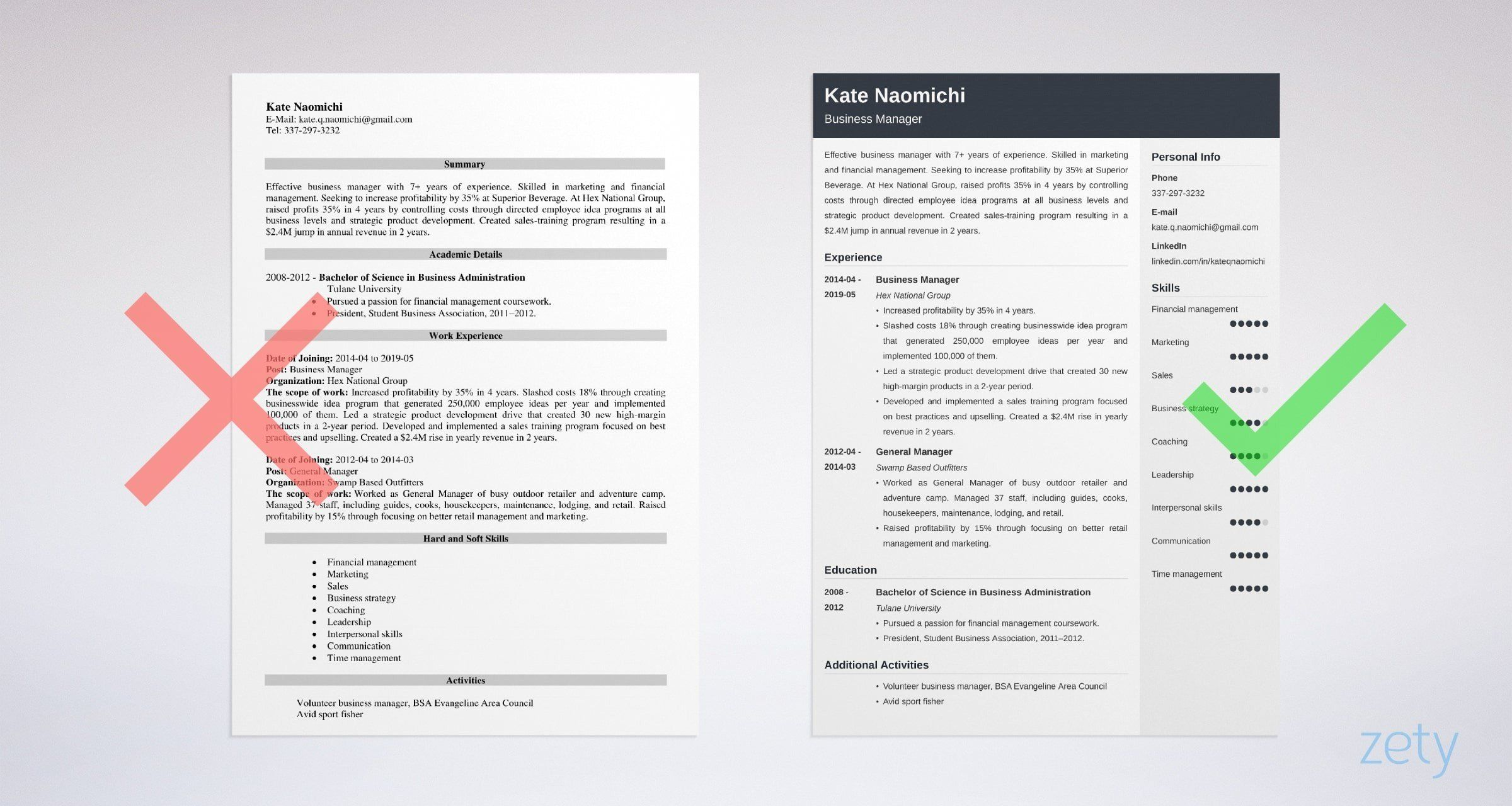 Business manager resume sample skills job description