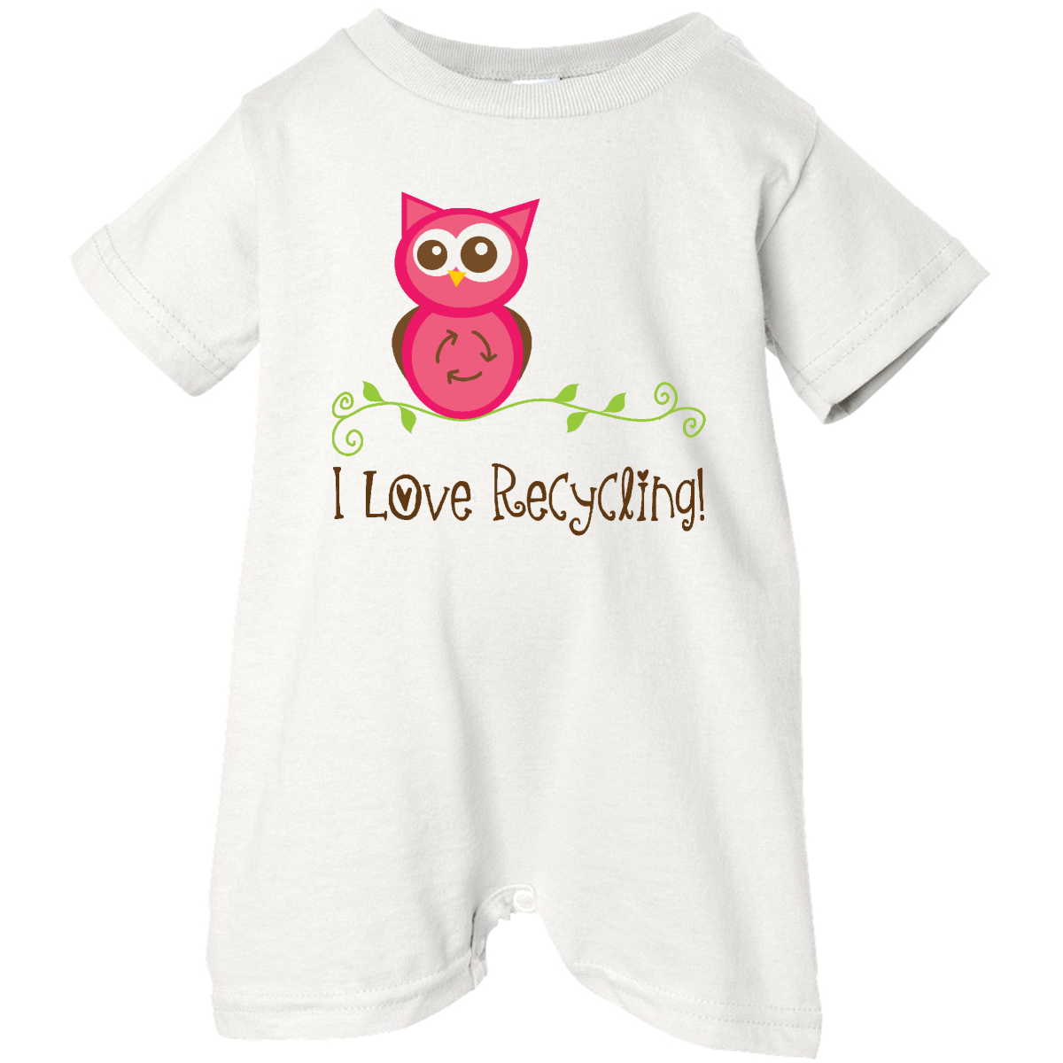 I Love Recycling Baby Romper for Earth Day. www