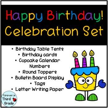 this birthday set helps you celebrate birthdays in your classroom it has cards pencil toppers homework passes bulletin board display and letter writing