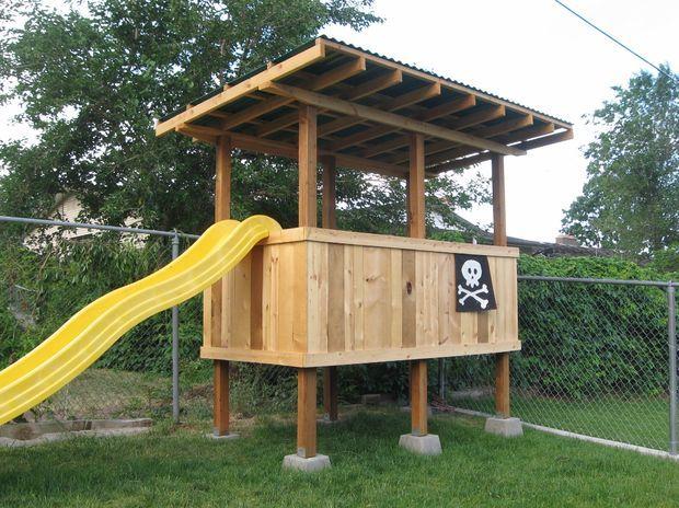 How to Build a Treeless Tree House   Diy playground ...