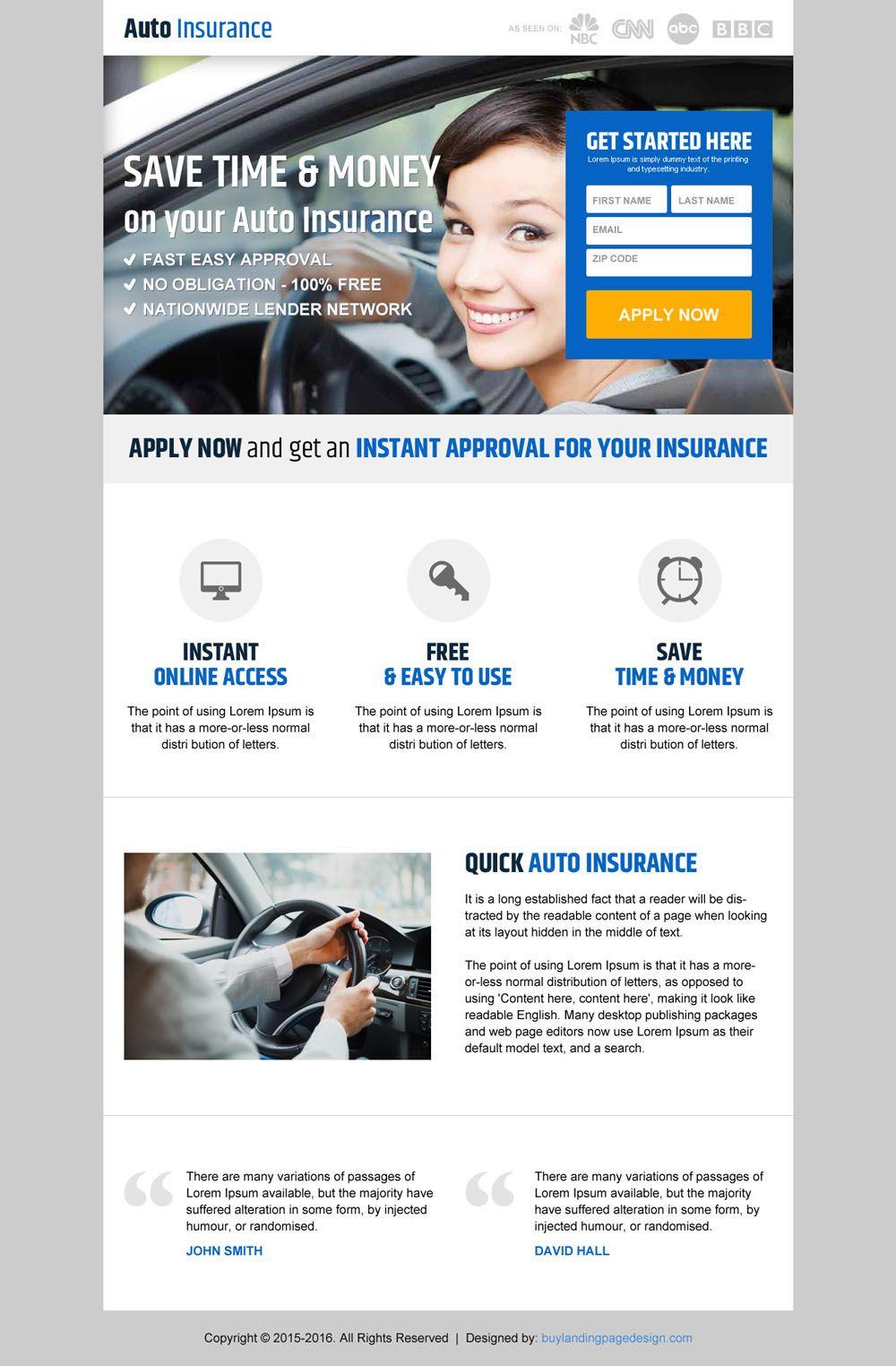 Save Money On Auto Insurance Responsive Landing Page Design Auto