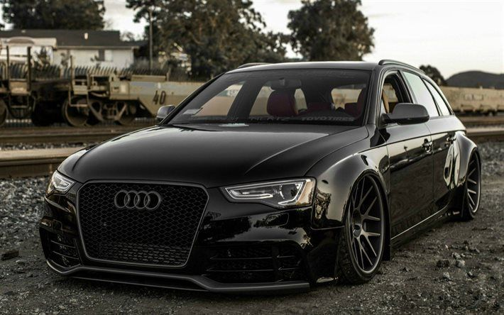 low rider, Audi A4 Avant, german cars, black a4, Audi, tuning