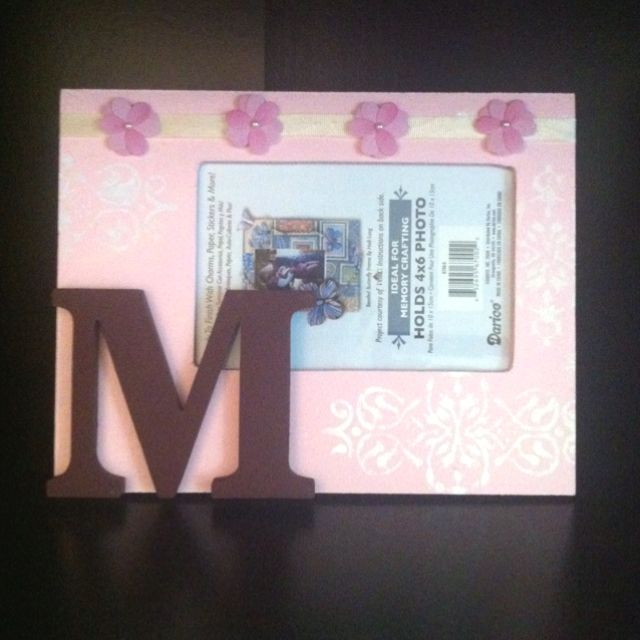 Initial picture frame with paint and stencils!